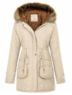 Womens Hooded Warm Winter Thicken Fleece Lined Parkas Long Coats