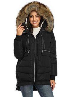 FADSHOW Women's Winter Down Jackets Long Down Coats Warm Parka with Hood