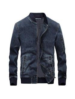 Heihuohua Men's Zip-Front Denim Jacket Classic Trucker Jean Jacket