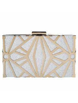 CARIEDO Women Evening Bag Elegant Clutch Purse Exquisite Velvet Metal Hollow out Handbags Prom Wedding Party