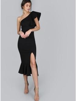 Women's Ruffle One Shoulder Split Midi Party Bodycon Dress