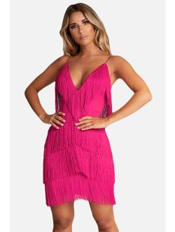 L'VOW Women'Sexy Open Back Strap Skirt 1920s Gatsby Flapper Cocktail Party Fringed Mini Dress