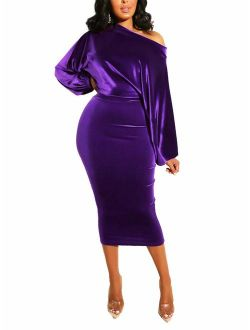Salimdy Womens One Off Shoulder Midi Dress Long Sleeve Velvet Sexy Bodycon Party Pencil Dress