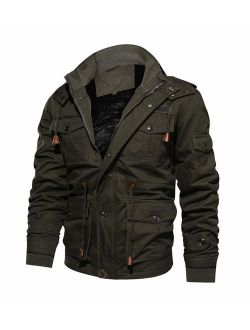 CRYSULLY Men's Winter Casual Thicken Multi-Pocket Outwear Jacket Coat with Removable Hood 35/33