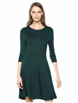 Women's Three Quarter Sleeve Knit Fit And Flare Dress