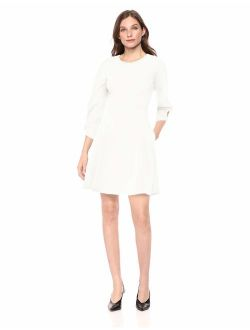 Women's Gathered 3/4 Sleeve Crew Neck Fit And Flare Dress With Pockets
