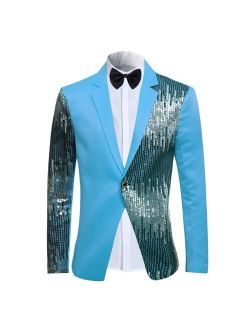 Men's 2-Piece Suit Casual 1 Button Slim Fit Prom Suit Stylish Sequin