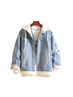 Gumstyle Danganronpa Monokuma Anime Denim Hoodie Jacket Adult Cosplay Button Down Jeans Coat