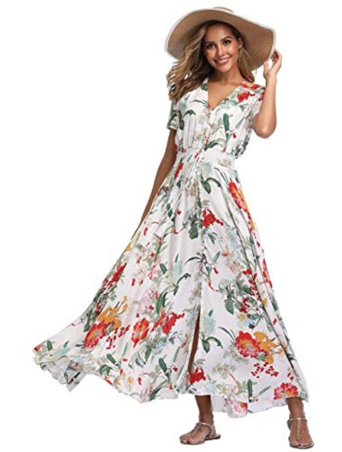 VintageClothing Floral Printed Maxi Boho Button Up Front Slit Beach Party Dresses