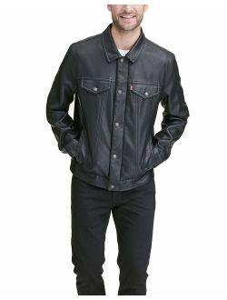 Men's Faux Leather Classic Trucker Jacket