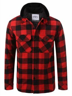Shaka Wear Men's Hooded Flannel Shirt Jacket Quilted Iined
