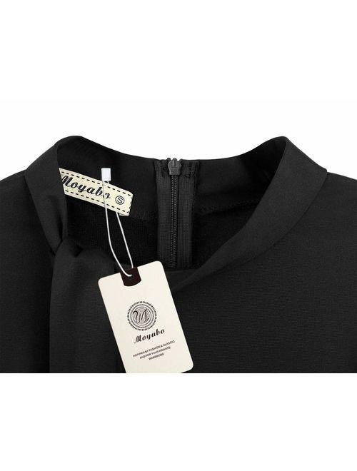 Moyabo Women's Tie Neck Vintage Bodycon Peplum Business Formal Work Pencil Dress