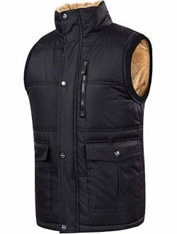 XinYangNi Men's Winter Warm Outdoor Padded Puffer Vest Thick Fleece Lined Sleeveless Jacket