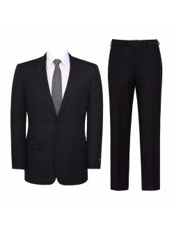 Pio Lorenzo Men's 2-Piece Classic Fit Solid Color Single Breasted 2 Buttons Suit