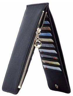 Toughergun Womens RFID Blocking Genuine Leather Multi Card Organizer Wallet with Zipper Pocket
