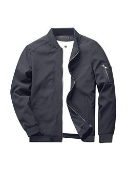 CRYSULLY Men's Spring Fall Casual Slim Fit Thin Lightweight Outwear Sportswear Bomber Jacket Coat 9937