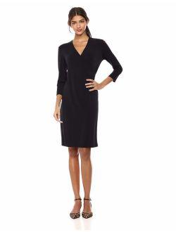Women's Crepe Knit Faux Wrap Dress
