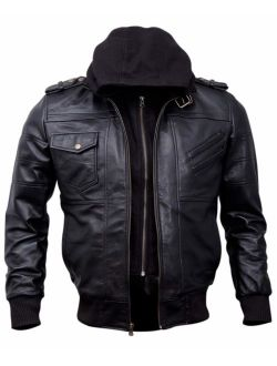 Mens Genuine Black Hooded Bomber Leather Jacket | Real Lambskin Waxed Brown Leather Jackets for Men with Removable Hood