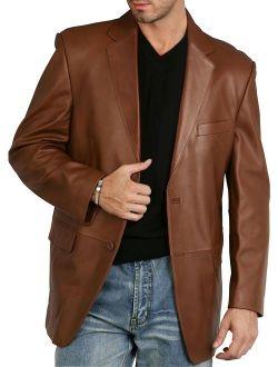 BGSD Men's Richard Classic 2-Button Lambskin Leather Blazer (Regular Big and Tall and Short)