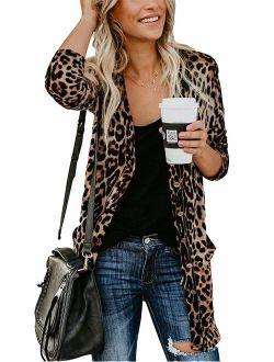 Women Lightweight Cardigan Leopard Printed Button Down Cardigans Shirt W Pockets(S-2XL