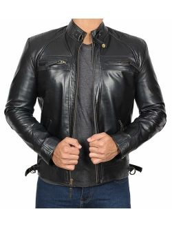 Mens Leather Jacket - Quilted Real Lambskin Leather Jackets for Men