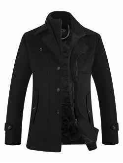 APTRO Men's Wool Blend Pea Coat Quilted Lining Slim Fit Winter Jacket