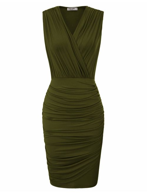 GRACE KARIN Women Retro Long Sleeve Ruched Wrap Party Pencil Dress