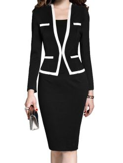 MUSHARE Women's Colorblock Wear to Work Business Party Bodycon One-Piece Dress
