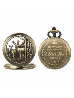 Personalized Pocket Watch Engraved Back Case Gift Birthday Men To My Son Deer Reindeer Quartz