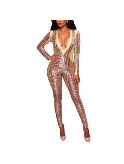 Women's Sexy V Neck Sequin Mesh Bodycon Long Pants Party Jumpsuits Rompers