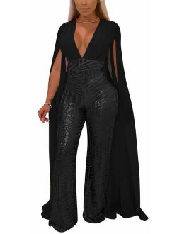 Speedle Women Sexy Deep V Angel Wings Sequin Glitter Tulle Backless Evening Party Playsuit