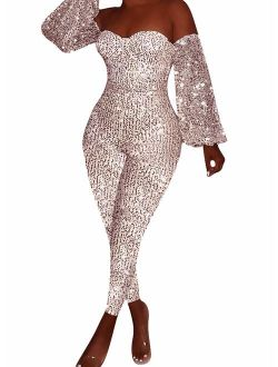 Andongnywell Women Sexy Sparkly Glitter Off Shoulder Bodycon Long Sleeve V Neck Clubwear One Piece Romper Jumpsuits