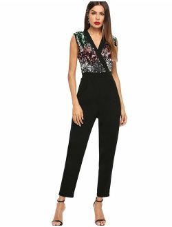 Women's Stretchy Sparkle Sequin V Neck Sleeveless Ankle Length Pants Cocktail Party Jumpsuit