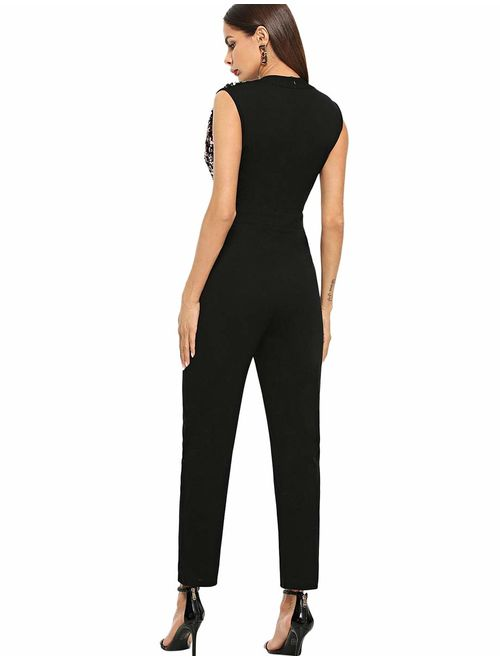 Romwe Women's Stretchy Sparkle Sequin V Neck Sleeveless Ankle Length Pants Cocktail Party Jumpsuit