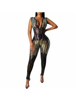 Xesvk Women's Rompers Popular V-Neck Sleeveless Fitting Sequin Rompers Jumpsuit Playsuit Siamese