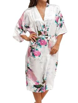 Medium Length Womens Robes, Sizes 2 to 18, Bride and Bridesmaid Robe - Floral Sleepwear