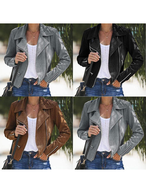Hirigin Womens Ladies Leather Jacket Coats Zip Up Biker Casual Flight Top Coat Outwear