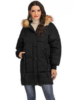 Women Winter Plus Size Long Hoodie Coat Warm Hooded Jacket Zip Parka Overcoats Raincoat Active Outdoor Trench Coat