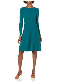 Women's Long Sleeve Ribbed Crewneck Fit And Flare Sweater Dress
