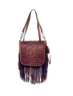 Western Genuine Leather Floral Tooled Fringe Womens Crossbody Bag In Multi Color