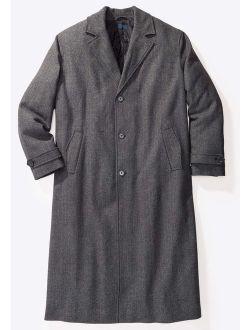 KingSize Men's Big and Tall Wool-Blend Long Overcoat