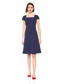 Women's Cap Sleeve Square Neck Seamed Fit And Flare Dress