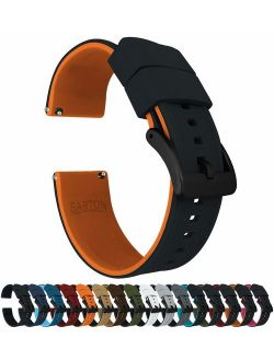 Elite Silicone Watch Bands - Black Buckle Quick Release - Choose Color - 18mm, 19mm, 20mm, 21mm, 22mm, 23mm & 24mm Watch Straps