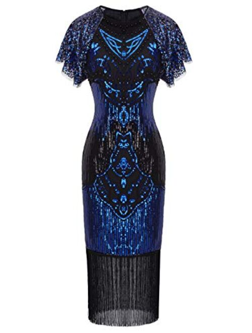 FAIRY COUPLE 1920s Knee Length Flapper Party Cocktail Dress with Sequined Embellished Cap Sleeve Layer Tassels Hem