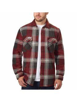 Freedom Foundry Men's Plaid Fleece Jackets Super Plush Sherpa Lined Jacket Shirt