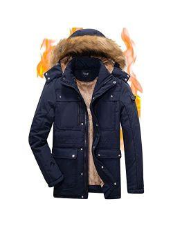 Yozai Mens Winter Military Warm Jacket Fleece with Detachable Fur Hood Outwear
