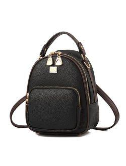 Gashen Women's Mini Backpack Purse PU Leather Casual Drawstring Daypack Convertible Fixed Shape Shoulder Bag