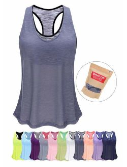 Women's Cute Yoga Tops with Built in Bra Exercise Gym Shirts Running Tank Tops