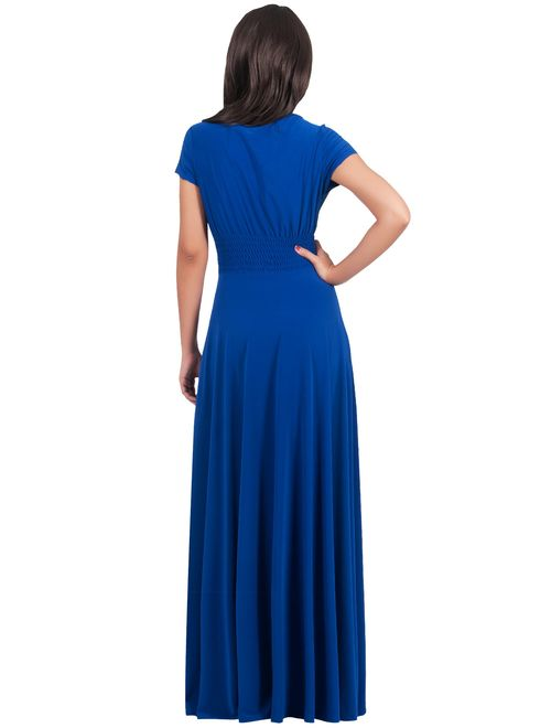 KOH KOH Womens Sexy Cap Short Sleeve V-Neck Flowy Cocktail Gown