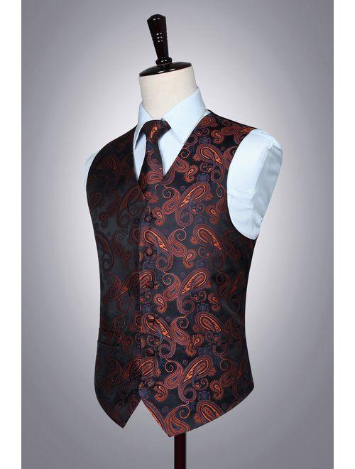 HISDERN Men's Classic Paisley Floral Jacquard Waistcoat & Necktie and Pocket Square Vest Suit Set
